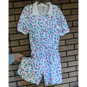 Vintage 80s/90s cotton romper L pockets soft
